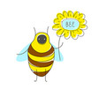 cute cartoon concept with funny bug bee flower vector image