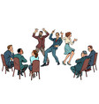 dance competition dancing people and jury vector image vector image