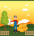 farmer in the farm scene vector image