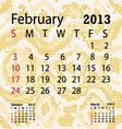february 2013 calendar albino snake skin vector image vector image