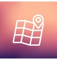 Folded map with pin thin line icon vector image vector image