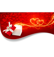 Gift box with magic hearts vector image vector image