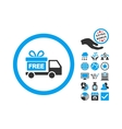 Gift Delivery Flat Icon With Bonus vector image vector image