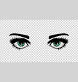 green female eyes with long lashes and make vector image vector image