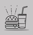 humburger and soda icons sign decoration vector image
