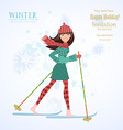 Invitation card with happy girl is skiing for your vector image