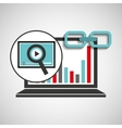 laptop graphs video player link web vector image vector image