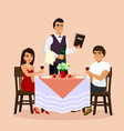 loving couple in restaurant vector image vector image