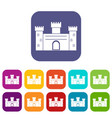 medieval fortification icons set flat vector image vector image