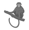 monkey sitting on a branch icon monochrome vector image vector image