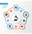 multimedia icons set collection of cd meloman vector image vector image