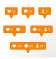 notification application icons heart message vector image