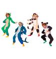 people in kigurumi pajamas animal costumes party vector image