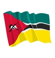 political waving flag of mozambique vector image vector image