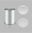realistic canned metal packaging vector image vector image