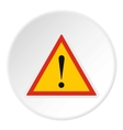 Road sign warning icon flat style vector image vector image