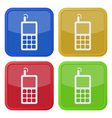 set of four square icons - old mobile phone vector image vector image