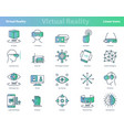 set of linear virtual reality colored icons vector image