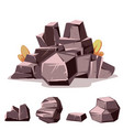 set of rocks cartoon isometric 3d flat style vector image vector image