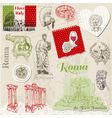 Set of Rome doodles vector image vector image