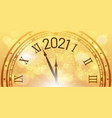 shiny new year poster 2021 celebration clock vector image