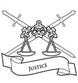 symbols justice scale and two crossed swords vector image