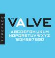 the valve futuristic decorative font design vector image