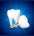 tooth implant on a blue background vector image vector image