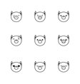 trendy line style set of funny cartoon fox vector image