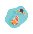 two kids swimming in the pool top view vector image vector image