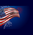 usa flag with fireworks at night vector image vector image