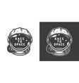 vintage monochrome astronaut helmet space emblem vector image vector image