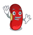 waving red bean in the cartoon bowl vector image vector image