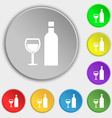 Wine Icon sign Symbol on eight flat buttons vector image vector image