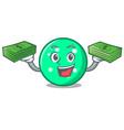 with money bag circle mascot cartoon style vector image vector image