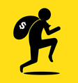 Thief run with bag of money vector image