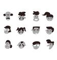 black cartoon people icon vector image
