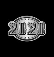 2020 numbers retro design in black and white style vector image vector image