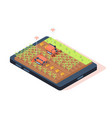 3d isometric smart farming with remote controle vector image vector image