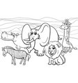 african animals cartoon coloring book vector image