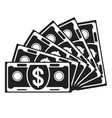 banknote fan black icon vector image vector image
