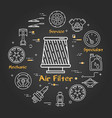 black linear banner of air filter vector image vector image