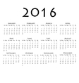 Calendar for 2016 on white background vector image vector image