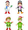 cartoon kids wearing christmas costume vector image vector image