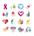Charity flat icons set vector image vector image
