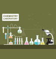 chemical laboratory science with microscope vector image vector image