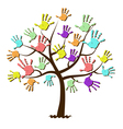 Childrens hand prints united in tree vector image vector image