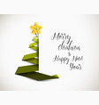 christmas tree made from green paper stripe vector image vector image