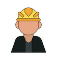color silhouette cartoon half body faceless worker vector image vector image