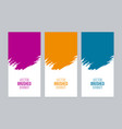 colorful brushed banner set vector image vector image